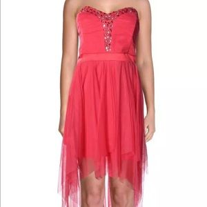 Teeze Me Dresses & Skirts - Teeze me pink mesh Embellished party Dress Jrs 13