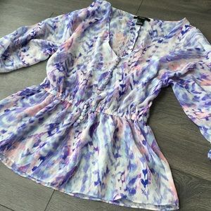 AKIRA Tops - Purple & Pink Patterned Blouse