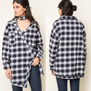 Asymmetrical Button Up Plaid Top