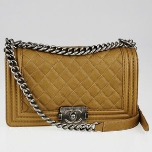 Authentic CHANEL camel tan quilted medium boy bag