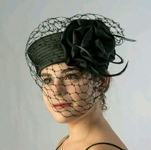 Accessories - Black Satin Pillbox Flower Veil Church Derby Hat
