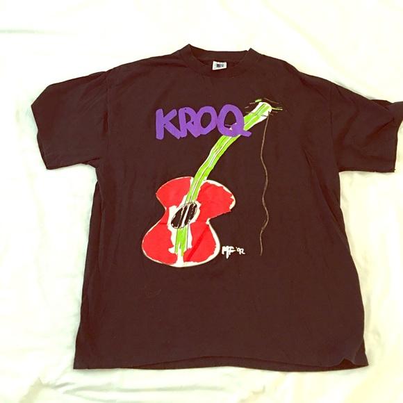 vintage kroq acoustic christmas t shirt 1992 large - Kroq Christmas
