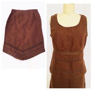 Dresses & Skirts - Brown Linen Eyelet Skirt and Top Set