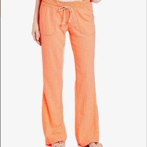 Roxy Pants - NWT Roxy Ocean Side Linen Pants Orange