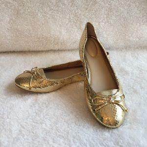 Marc Fisher Shoes - NWOT Marc Fisher gold snakeskin ballet flats