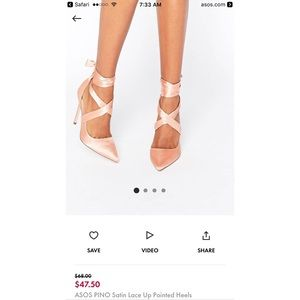 ASOS pino satin lace up heels SIZE 7 worn once!