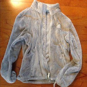 Grey fleece North Face zip up jacket