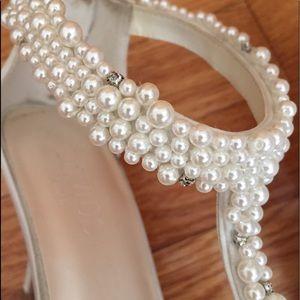 David's Bridal crystal/pearl heels