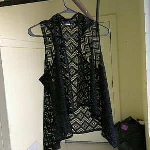 absolute angel Jackets & Blazers - Iittle black Lacy vest size Large by absolute ange