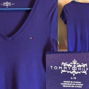 Tommy Hilfiger purple V-neck shirt. Size L