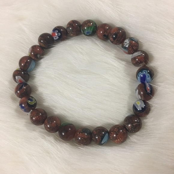 Jewelry - 🌺Handmade goldstone with pop of color bracelet