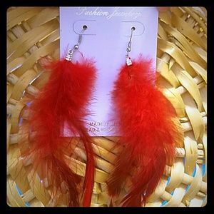 """Red """"soft"""" Feather Earrings"""