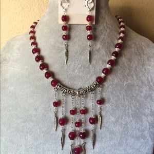 Jewelry - Raspberry Agate Necklace And Earrings Set