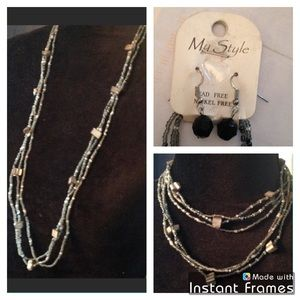 Jewelry - CCO Misty gray beaded necklace and earring set