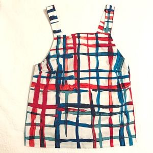 Red white and blue striped sleeveless shirt