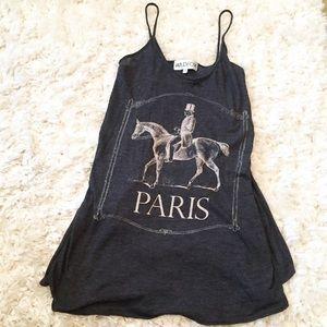 WildFoxCute Dark Grey Paris prints tank tops