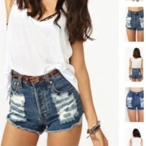 MINKPINK Pants - Minkpink Slasher Highrise Denim shorts XS