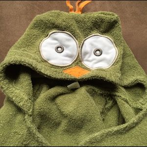 Baby Aspen Other - OWL green hooded TOWEL with tie as a robe