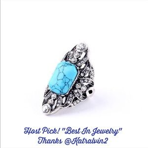 karen1177 Jewelry - Just In🍃Silver Plated Turquoise Statement Ring