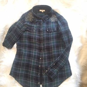 Equipment Tops - Equipment Femme plaid flannel studded shirt