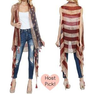 Sofi + Sebastien  Jackets & Blazers - American flag kimono sheer vest tassels festival