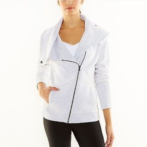 Lucy Jackets & Blazers - Lucy Cream Hatha Flow Asymmetrical Zip Up Jacket