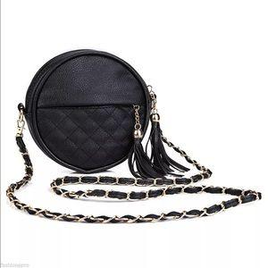Handbags - Black vegan leather round Crossbody purse NEW