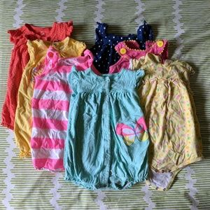 Carter's Other - Lot of 7 toddler girl rompers, 18 - 24 months