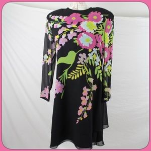 Umi Dresses & Skirts - Umi Black Silk Dress Sz 16 with Vivid Floral Print