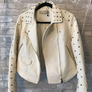 Zara studded faux leather jacket cream