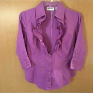 Purple Ruffled Collared Low Cut Blouse