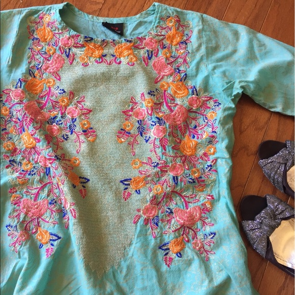 Much More Tops - Light Turquoise Embroidered Tunic Or Blouse