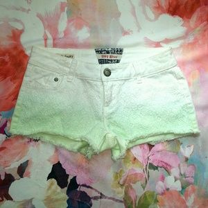 Hot Kiss Pants - White Dip Dyed Lace Embellished Cut Off Shorts
