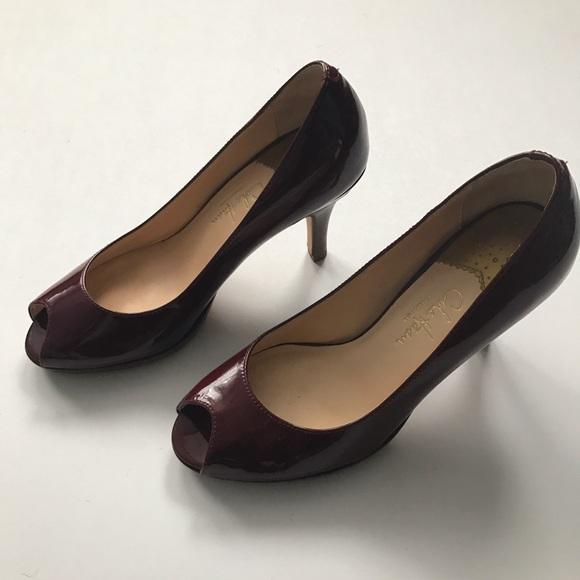 63a9afa2f19 Cole Haan Shoes - Cole Haan Nike Air Carma Peep toe maroon pumps 5B