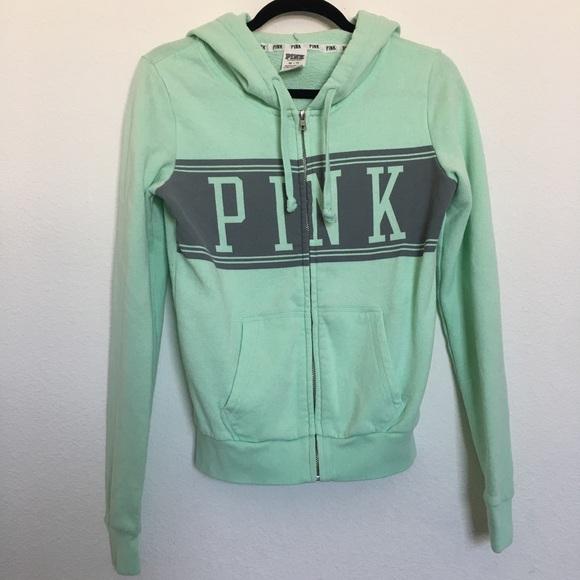 2466388c12cd8 Victoria's Secret PINK zip up hoodie XS mint green