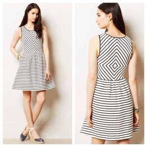 Maeve Mitred Striped Dress Ivory/Black