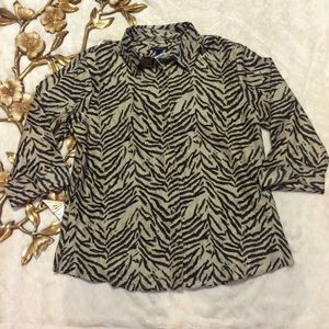 Tops - Westbound Animal Print Button Down Shirt Size 14