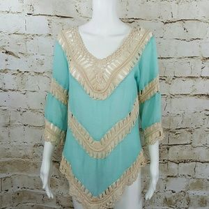 NY Collection Tops - Boutique Boho Chic crochet lace top from Macy's