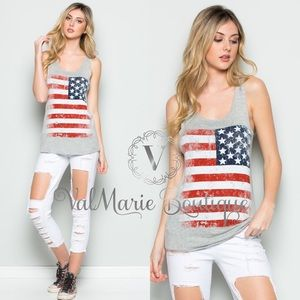 SOFT BRUSHED AMERICAN FLAG HEATHER GREY TANK TOP
