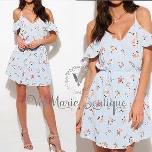 SKY BLUE FLORAL COLD SHOULDER DRESS
