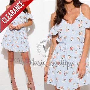 CLEARANCE SKY BLUE FLORAL COLD SHOULDER DRESS