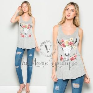SOFT BRUSHED SKULL ROSE TANK TOP HEATHER GREY