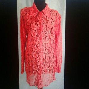 💖 Sheer floral lace blouse Small