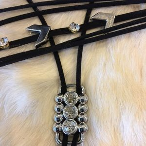 2 Necklaces Leather CZ Choker & Bolo Jewelry