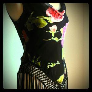 Cache Tops - Cache Boho Fringe Floral top