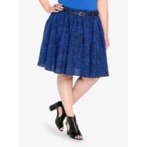 Torrid Leopard Print Blue Skater Skirt