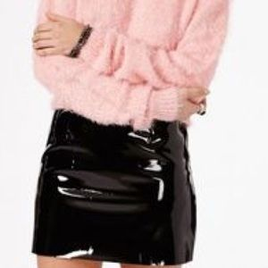 PVC black mini skirt