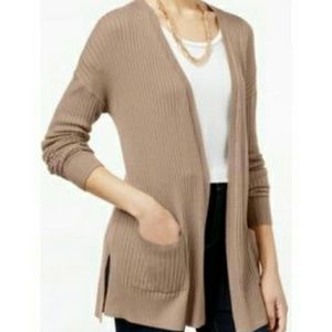 Freshman Sweaters - Ribbed open front cardigan
