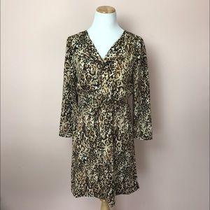 Merona Animal Print Long Sleeve Dress Medium