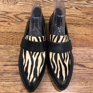 Pony hair zebra leather loafers NEW size 6